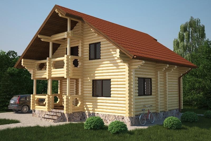 "Дом из оцилиндрованного бревна ""Проект ОБД-123"", 81 кв.м."