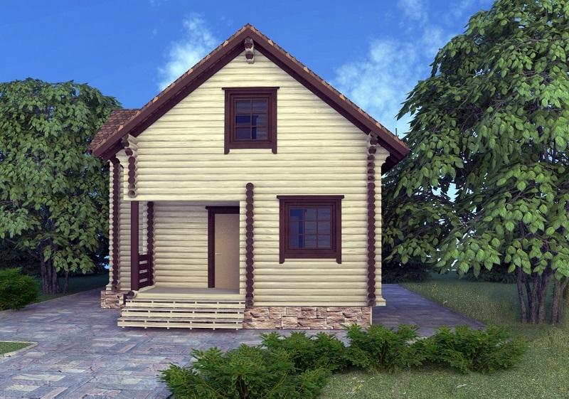 """Проект дома """"Карлтон"""", оцилиндрованное бревно, 56 кв.м."""