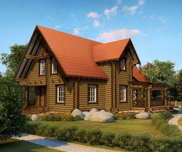 """Проект дома """"Карел"""", оцилиндрованное бревно, 121 кв.м."""