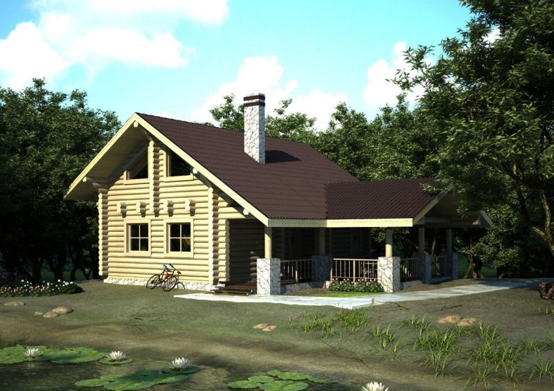 """Проект дома """"Сигне"""", оцилиндрованное бревно, 108 кв.м."""