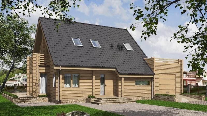 """Проект дома """"Проект 583-8"""", оцилиндрованное бревно, 180 кв.м."""