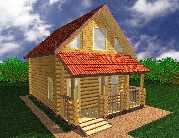 """Проект дома """"Нилли"""", оцилиндрованное бревно, 35 кв.м."""