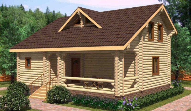 """Проект дома """"Клематида"""", оцилиндрованное бревно, 80 кв.м."""
