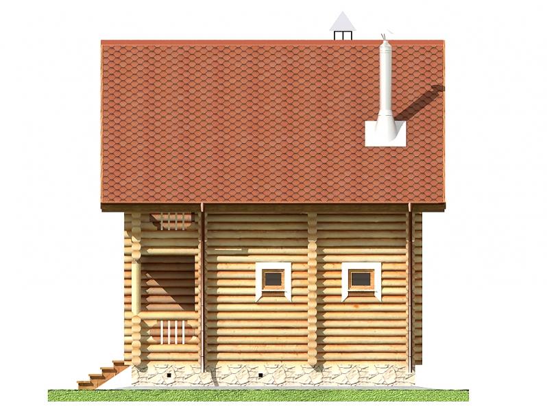 """Проект дома """"Брук"""", оцилиндрованное бревно, 56 кв.м."""