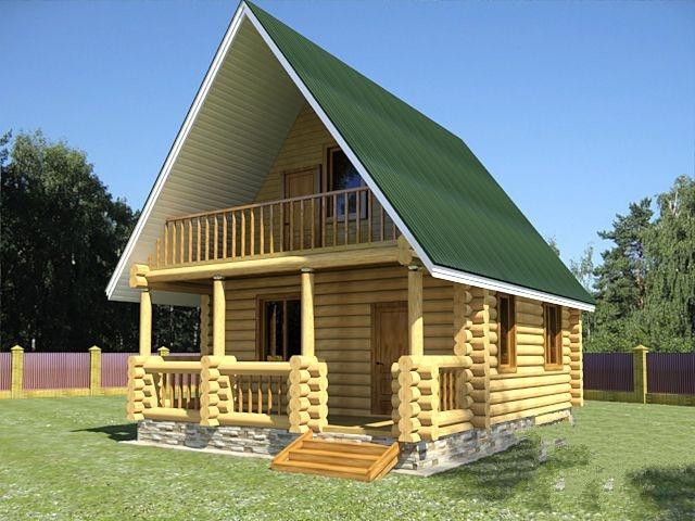 """Проект дома """"Бург"""", оцилиндрованное бревно, 48 кв.м."""