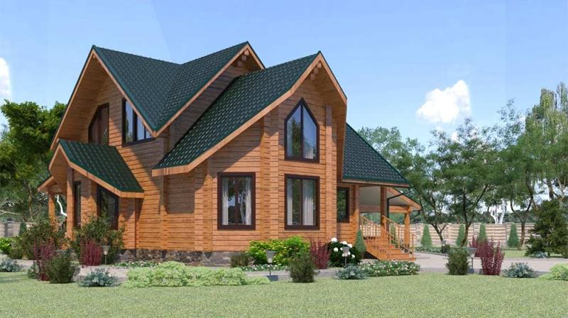 "Проект дома ""507-8"", брус камерной сушки, 164 кв.м."