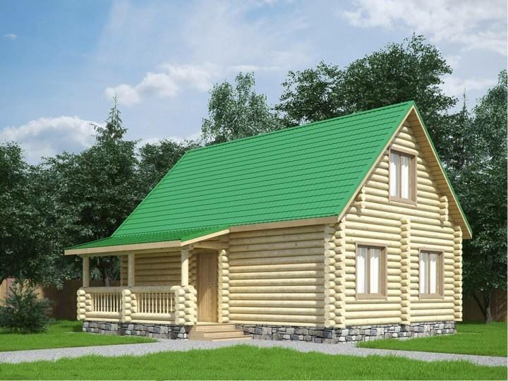 """Проект дома """"ПаавоНурми"""", оцилиндрованное бревно, 40 кв.м."""