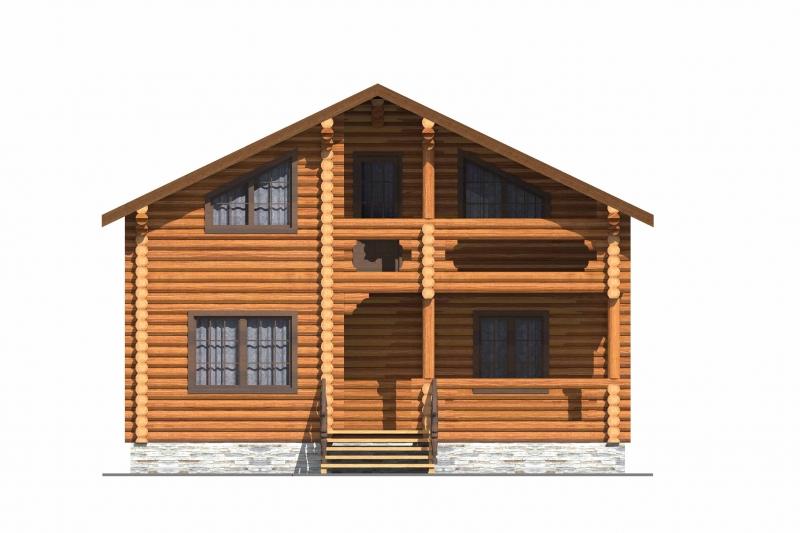 """Проект дома """"Ли"""", оцилиндрованное бревно, 64 кв.м."""