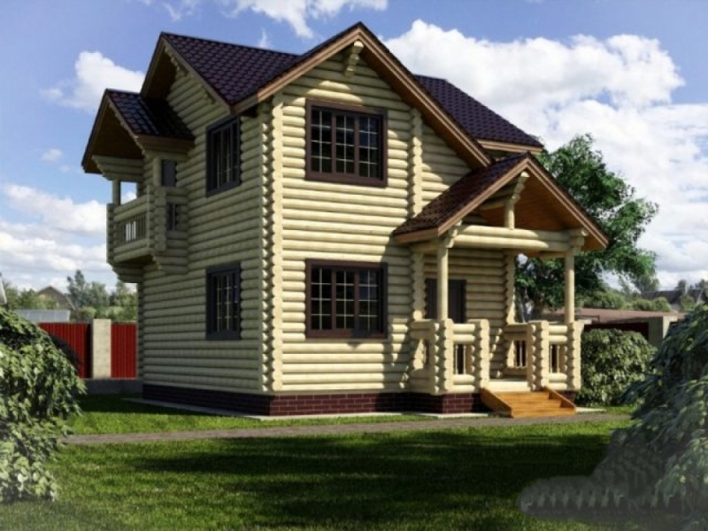 """Проект дома """"Лир"""", оцилиндрованное бревно, 84 кв.м."""
