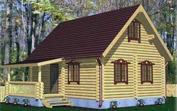 """Проект дома """"Трим"""", оцилиндрованное бревно, 48 кв.м."""