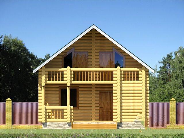 """Проект дома """"Уна"""", оцилиндрованное бревно, 63 кв.м."""