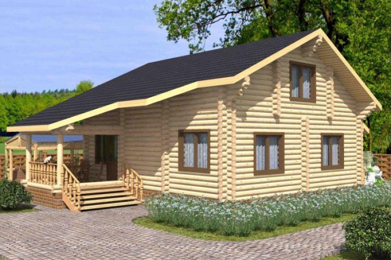 """Проект дома """"Феодора"""", оцилиндрованное бревно, 108 кв.м."""