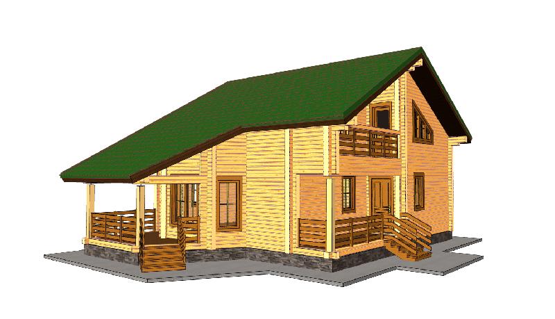 """Проект дома """"БД-169"""", профилированный брус, 130 кв.м."""