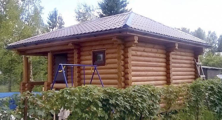 """Проект дома """"Проект 555-8"""", оцилиндрованное бревно, 26 кв.м."""