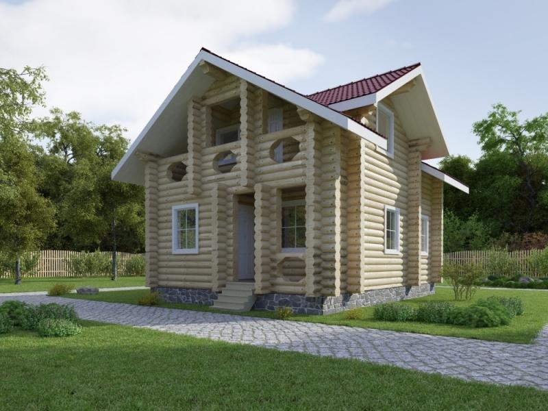 """Проект дома """"Крылатское"""", оцилиндрованное бревно, 48 кв.м."""