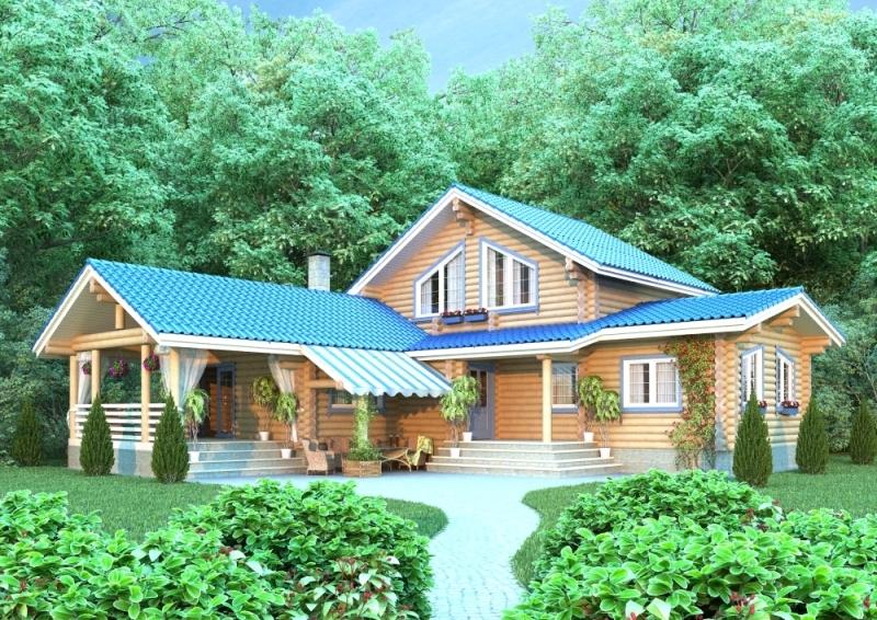 """Проект дома """"Саския"""", оцилиндрованное бревно, 225 кв.м."""