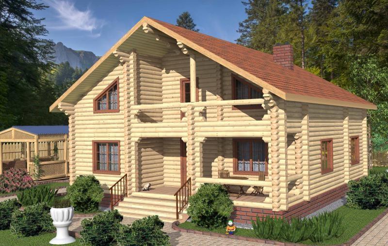 """Проект дома """"Йена"""", оцилиндрованное бревно, 120 кв.м."""