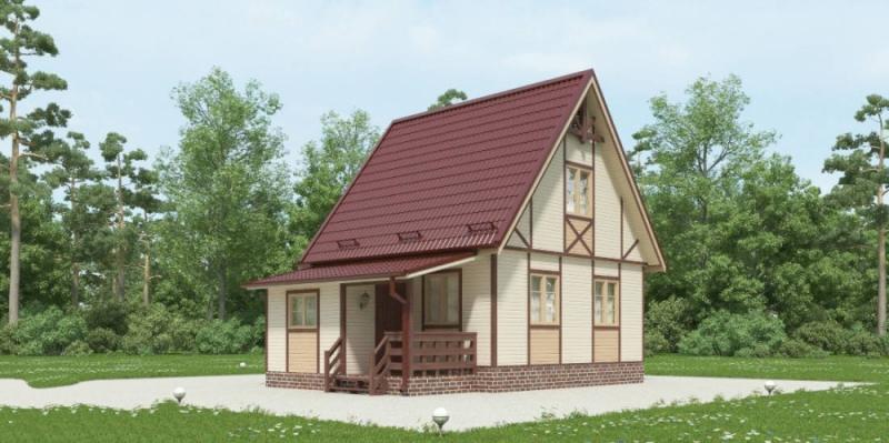 """Проект дома """"Топ"""", профилированный брус, 52.62 кв.м."""