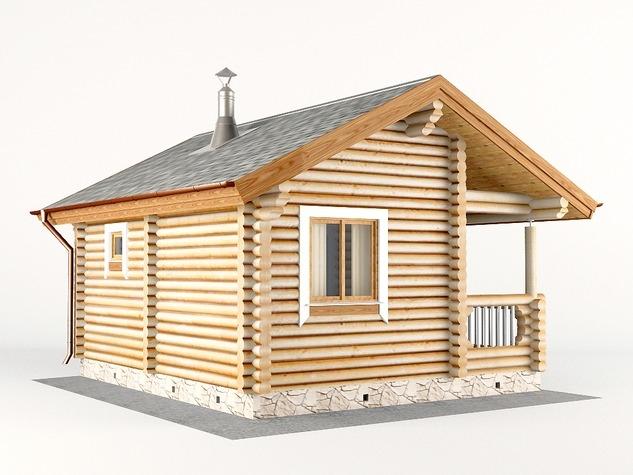 """Проект дома """"Макдаф"""", оцилиндрованное бревно, 30 кв.м."""