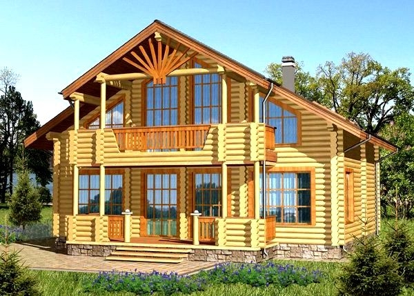 "Проект дома ""Гейша"", оцилиндрованное бревно, 108 кв.м."