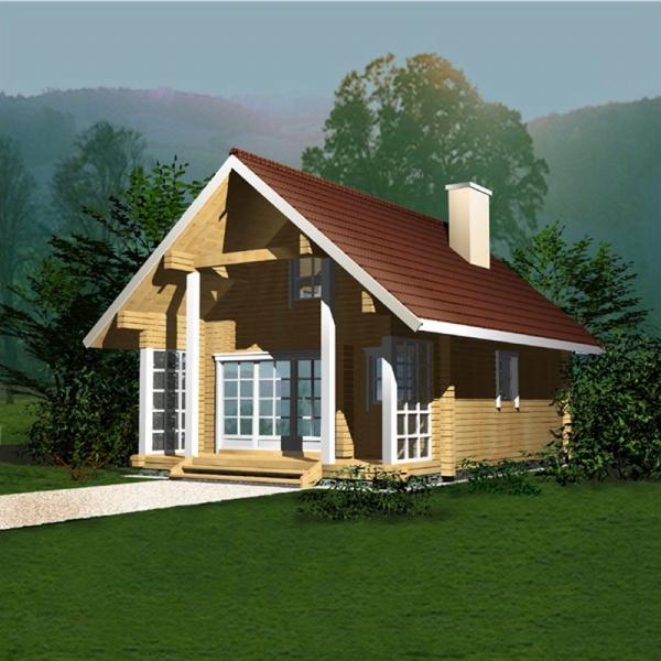"Проект дома ""Вальпурга"", оцилиндрованное бревно, 35 кв.м."
