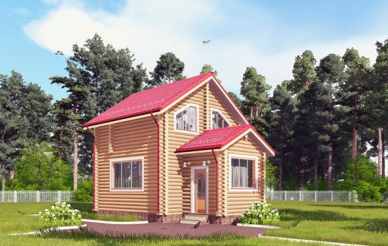 """Проект дома """"Эррик"""", оцилиндрованное бревно, 40 кв.м."""