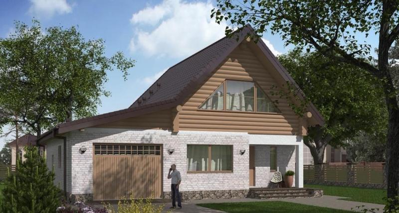 """Проект дома """"Проект 580-8"""", оцилиндрованное бревно, 215 кв.м."""