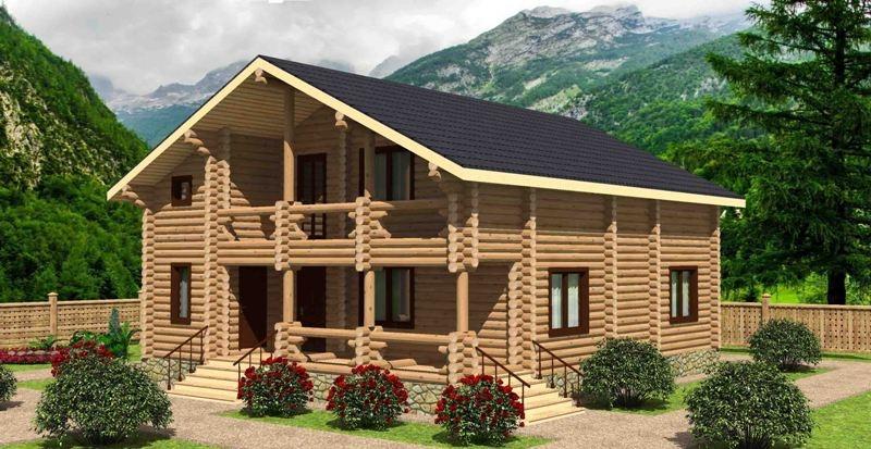 """Проект дома """"Морозовия"""", оцилиндрованное бревно, 99 кв.м."""