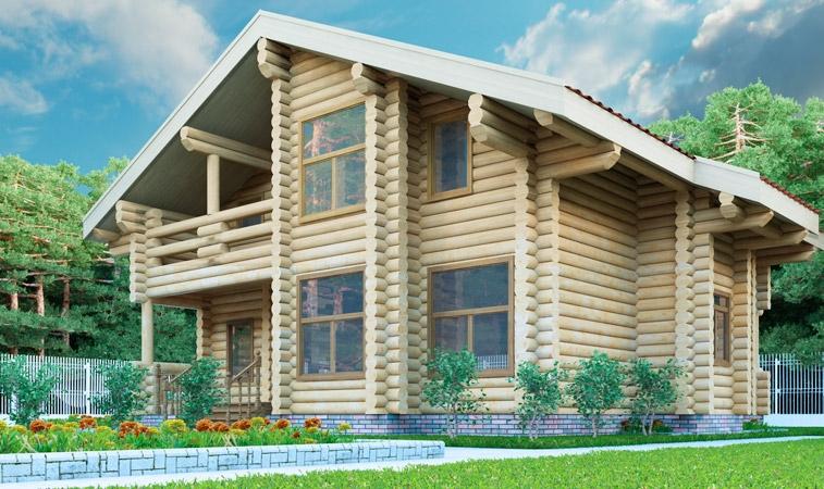 """Проект дома """"Галена"""", оцилиндрованное бревно, 144 кв.м."""