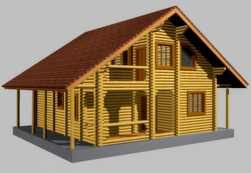 "Проект дома ""Эос"", оцилиндрованное бревно, 81 кв.м."
