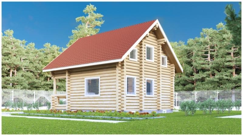 """Проект дома """"Янсен"""", оцилиндрованное бревно, 49 кв.м."""