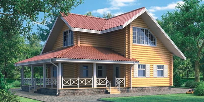 """Проект дома """"Аргеландер"""", оцилиндрованное бревно, 108 кв.м."""
