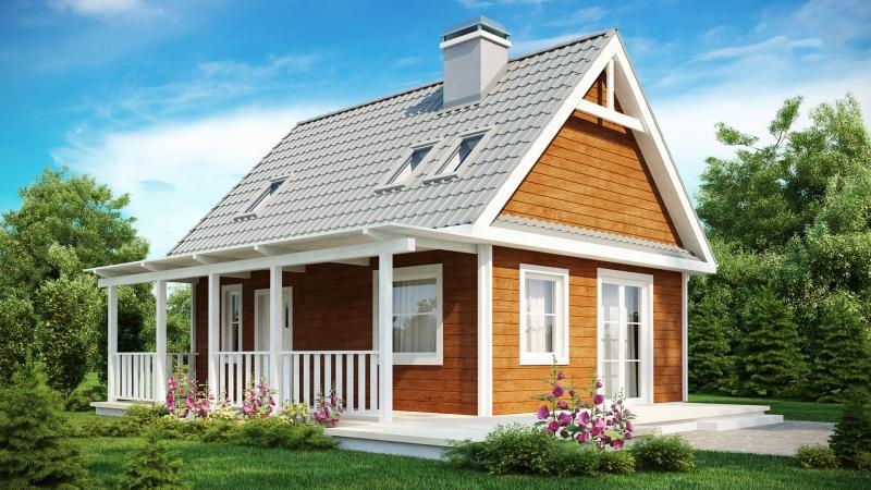 """Проект дома """"Хекман"""", профилированный брус, 62.9 кв.м."""