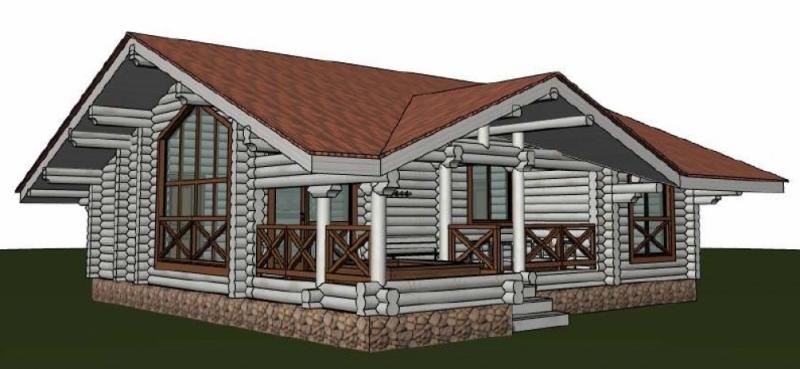 """Проект дома """"Пеле"""", оцилиндрованное бревно, 100 кв.м."""