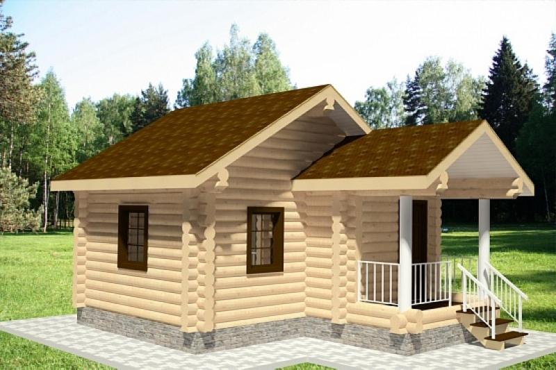 """Проект дома """"Монтегю"""", оцилиндрованное бревно, 30 кв.м."""