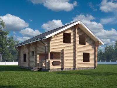 """Проект дома """"Фрингилла"""", оцилиндрованное бревно, 99 кв.м."""