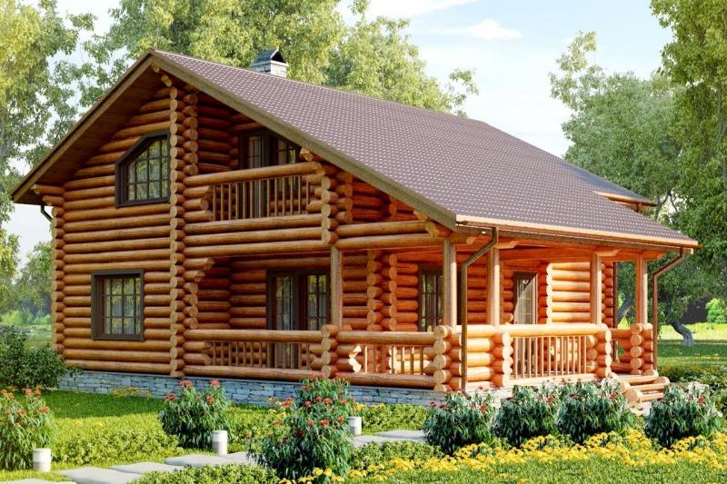"""Проект дома """"Рима"""", оцилиндрованное бревно, 90 кв.м."""