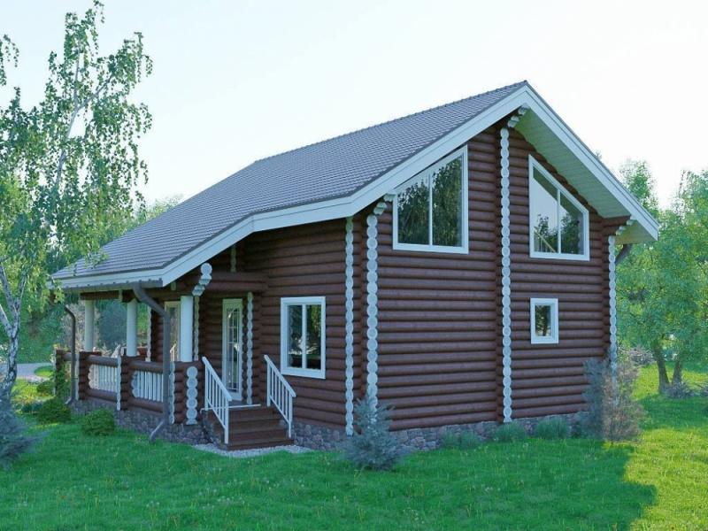 """Проект дома """"Андромаха"""", оцилиндрованное бревно, 90 кв.м."""