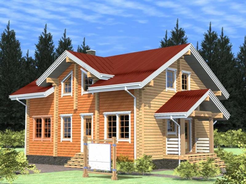 "Проект дома ""Даная"", оцилиндрованное бревно, 80 кв.м."