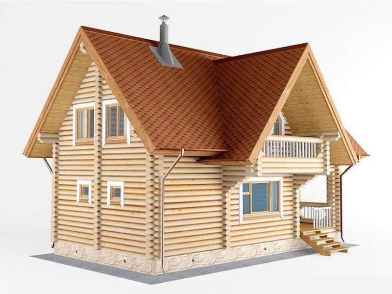 """Проект дома """"Проект ОБД-82"""", оцилиндрованное бревно, 56 кв.м."""