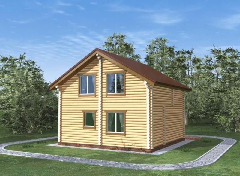 """Проект дома """"Карпаччо"""", оцилиндрованное бревно, 64 кв.м."""