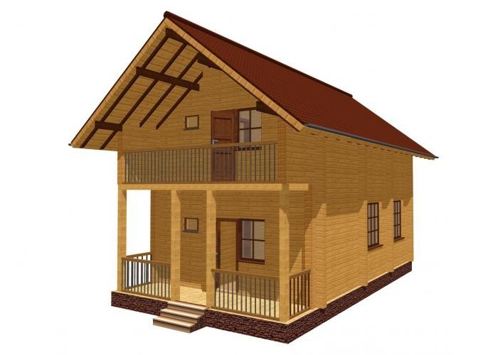 """Проект дома """"Мелета"""", профилированный брус, 50 кв.м."""