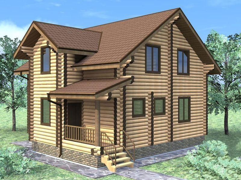 "Проект дома ""Стренуя"", оцилиндрованное бревно, 99 кв.м."