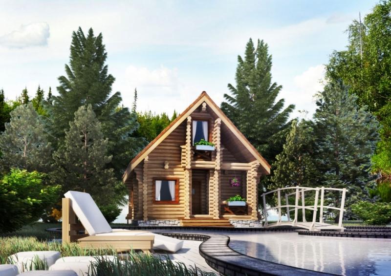 """Проект дома """"Бонд"""", оцилиндрованное бревно, 42 кв.м."""
