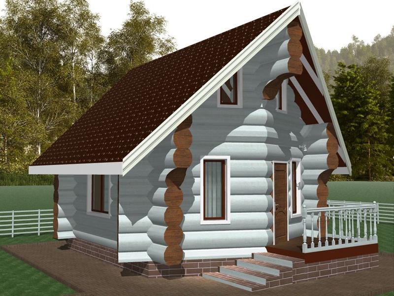 """Проект дома """"Норденмаркия"""", оцилиндрованное бревно, 30 кв.м."""