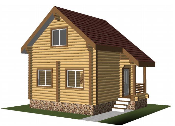 """Проект дома """"Проект 585-8"""", оцилиндрованное бревно, 51 кв.м."""