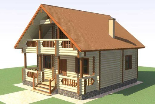 """Проект дома """"Макри"""", оцилиндрованное бревно, 56 кв.м."""