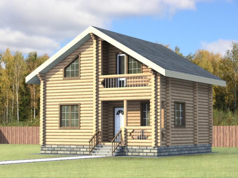 """Проект дома """"Розина"""", оцилиндрованное бревно, 64 кв.м."""