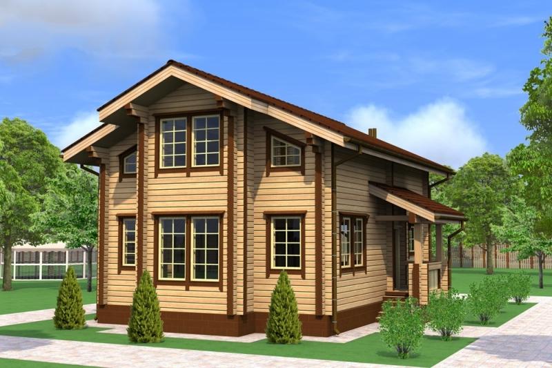 """Проект дома """"Антилох"""", профилированный брус, 77 кв.м."""