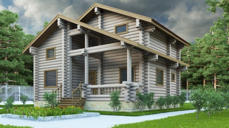 """Проект дома """"Галлия"""", оцилиндрованное бревно, 72 кв.м."""